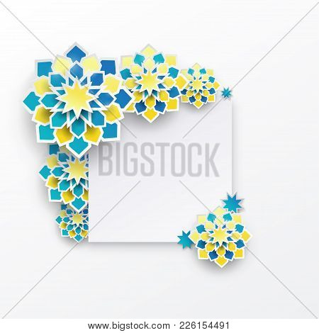 Greeting Card With Intricate Arabic Paper Graphic Of Islamic Geometric Art, Star Shape. Concept For