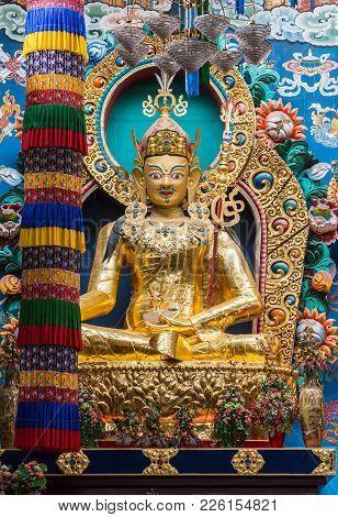 Coorg, India - October 29, 2013: Inside Padmasambhava Vihara Of Namdroling Buddhist Monastery. Close
