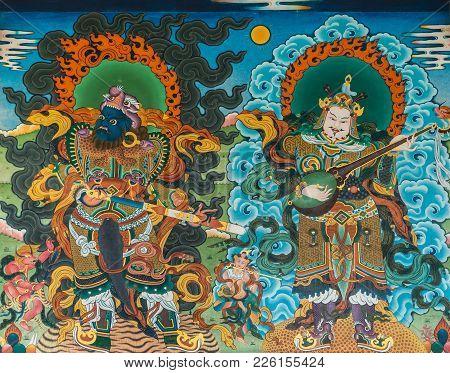 Coorg, India - October 29, 2013: Inside Padmasambhava Vihara Of Namdroling Buddhist Monastery. Color