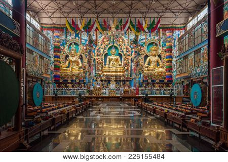 Coorg, India - October 29, 2013: Inside Padmasambhava Vihara Of Namdroling Buddhist Monastery. The G