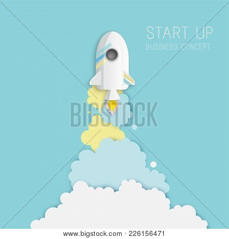 Paper Art Of Space Shuttle Launch To The Sky. Blue Sky, Fluffy Clouds. Rocket Launch. Start Up Busin