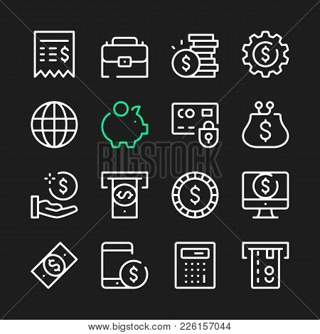 Financial Line Icons. Modern Graphic Elements, Simple Outline Thin Line Design Symbols. Vector Icons
