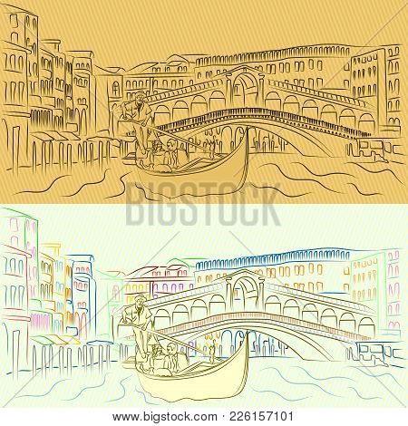 Vector Gondola With Lovers On The Grand Canal On The Background Of The Rialto Bridge. A Simple Outli