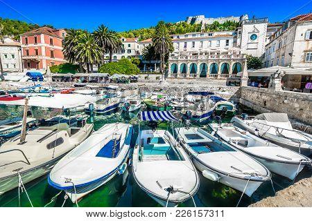 Scenic View At Picturesque Mediterranean Town Hvar In Dalmatia Region, Croatia, European Summer Trav