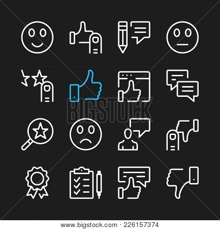 Testimonials Line Icons. Modern Graphic Elements, Simple Outline Thin Line Design Symbols. Vector Ic