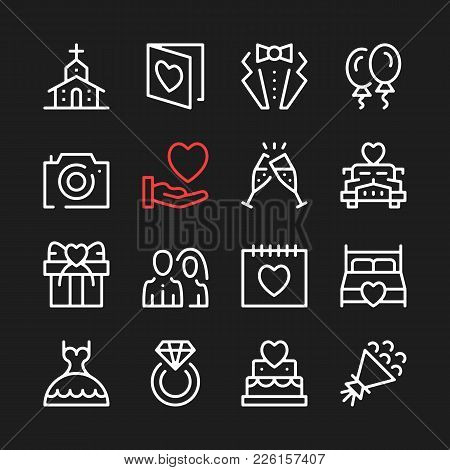 Wedding Line Icons. Modern Graphic Elements, Simple Outline Thin Line Design Symbols. Vector Icons S