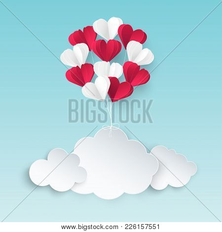 Modern Origami Paper Art Background With Paper Clouds, Bunch Of Red And White Heart Balloons. Valent