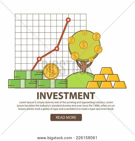Investments Business Concept Statistic Gold And Securities.financial Stock Market Profit. Monetary T