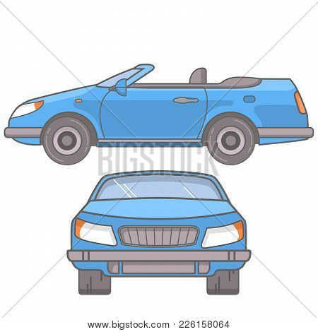 The Sports Car A Coupe Cabriolet With An Open Roof. In Flat Style A Vector A Linear Art.vehicle Side