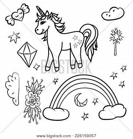 Doodle Unicorn Rainbow Stars, Magic Wand, Diamond,black Outline