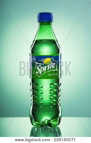 Kwidzyn, Poland - April 4, 2017: Bottle Of Sprite Drink On Gradient Background.  Sprite Is Lemon-lik