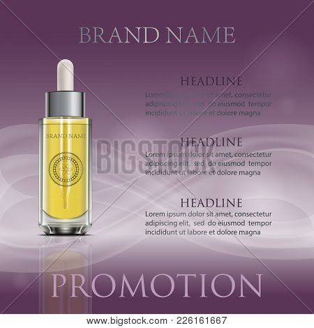 Bottle With Dropper And Modern Circle Graphic. Purple Wavy Background. 3d Realistic Anti Aging Oil G