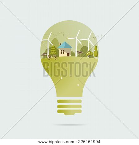 Vector illustration of eco home the light bulb with of wind turbine, bike , solar cell ,house, and t