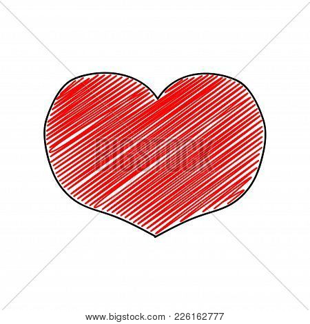 Vector Simple Embroidery Hearts On St Valentine's Day, Hand Drawing.