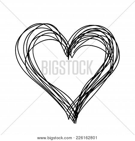 Black Liner Pen Drawing Heart On White Backgraund. Valentine On Day Enamored.