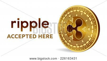Ripple. Accepted Sign Emblem. Crypto Currency. Golden Coin With Ripple Symbol Isolated On White Back