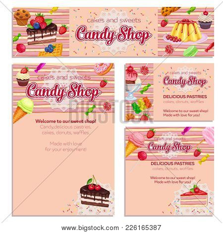 Corporate Style Template With Confectionery And Sweets Icons. Dessert, Lollipop, Ice Cream With Cand