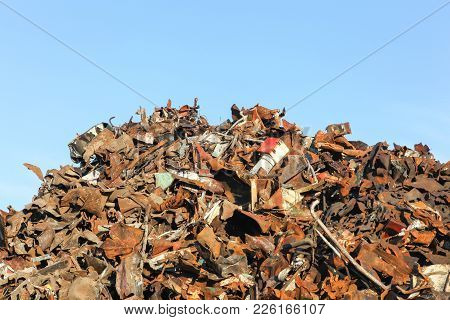 Heap Of Scrap Metal Ready For Recycling