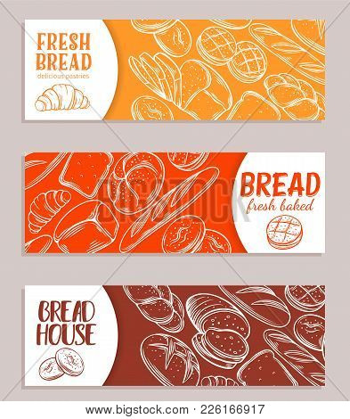 Food Template Banners With Bread Product. Hand Drawn Sketch Rye And Wheat Bread, Croissant, Whole Gr