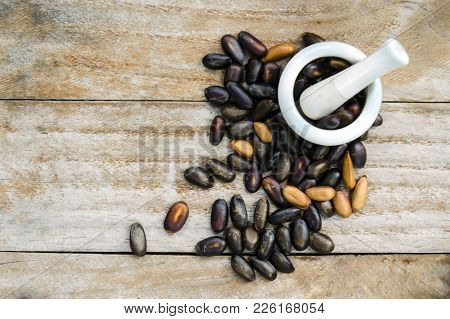 Kidney Beans (also Named As Phasecolus Vulgaris Bean, Or Red Beans) Isolated On Wood Background Top