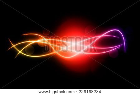 Curved, Rainbow Colored Glowing Lines Curves Design Element Illustration On Black Background