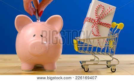 E-commerce Retail Savings Shopping Concept With Miniature Shopping Cart And Piggy Bank.