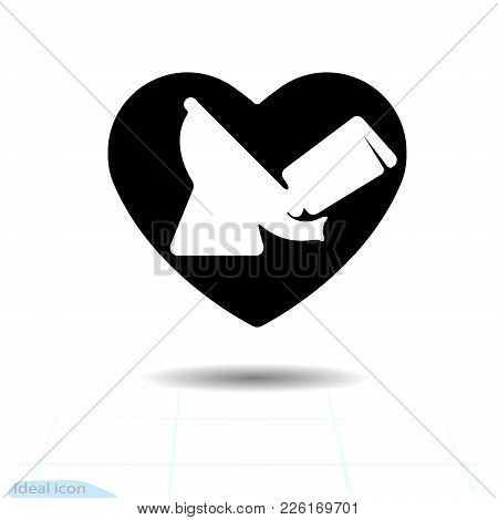Toilet Bowl On A Black Heart Plumbing For Design Elements For Valentine S Day. Vector Icon. Frame. I