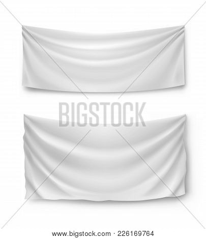 White Banner Flags, Realistic Isolated Vector Illustration. Wide Horizontal Canvases For Advertising