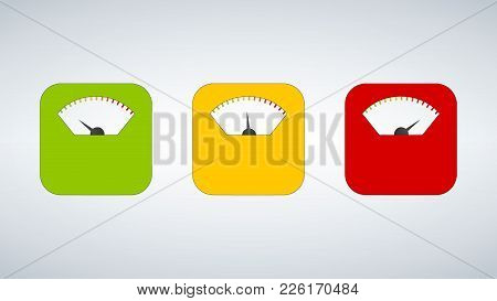 Three Body Weight Scales. Scale, Measure, Weight Icon. Isolated. Flat Design. Vector Illustration Gr