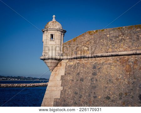 A turret on a fort in Lagos Portugal overlooking the Atlantic ocean