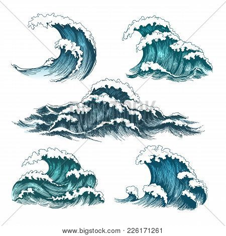 Sea Waves. Vintage Cartoon Ocean Tidal Storm Waves Isolated On White Background For Surfing And Seas