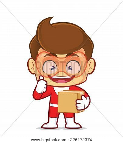 Clipart Picture Of A Superhero Cartoon Character Carrying A Box