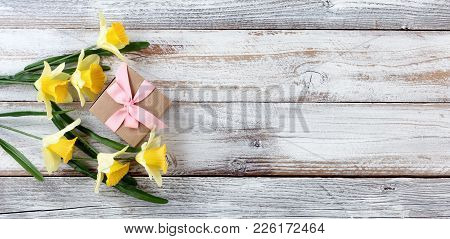Yellow Springtime Daffodils And Gift Box On White Weathered Wooden Boards
