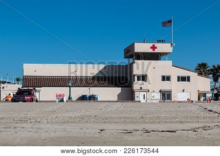 San Diego, California - February 9, 2018:  A Lifeguard Station On Mission Beach, One Of Nine Beaches