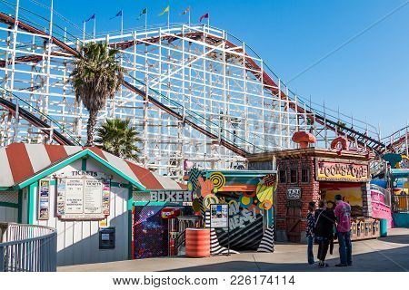 San Diego, California - February 9, 2018:  People Walk On The Midway At Belmont Park, An Amusement P
