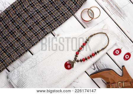 Set Of Female Fashion Apparel And Accessories. Flat Lay Woman Classic Garment And Jewelry, Top View.