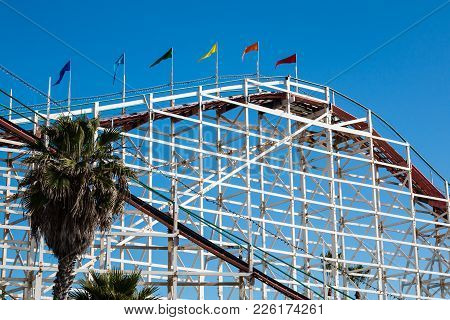 San Diego, California - February 9, 2018:  The Giant Dipper Wooden Roller Coaster, Located In Belmon