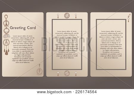 Greeting Card Three Options. Postcard Beige Background Vector. Template Postcard, Boho Style.