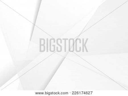 Abstract Grey Hi-tech Polygonal Corporate Background. Vector Stripes Minimal Light Design
