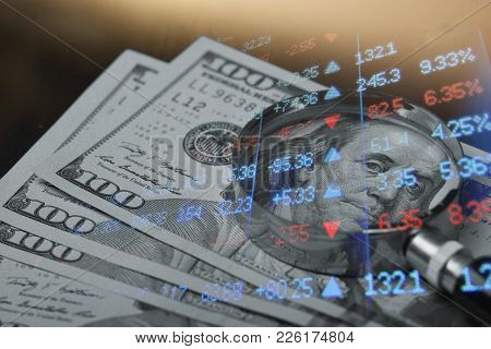 Finance, Banking Concept. Euro Coins, Us Dollar Banknote Close-up. Abstract Image Of Financial Syste