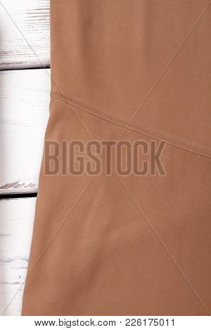 Close Up Female Brown Color Skirt. Detail Of Beige Classy Skirt. Vintage Classic Apparel.