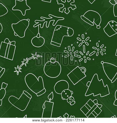 New Year Seamless Pattern Background. Christmas Vector Illustration On A Blackboard. Fir-tree, Snowm