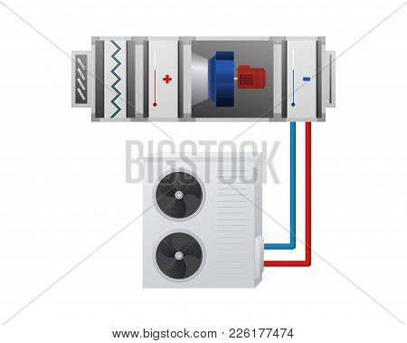 Air Handling Unit With Heating, Cooling Unit, Recuperator And Chiller Vector Illustration. Hvac Indu