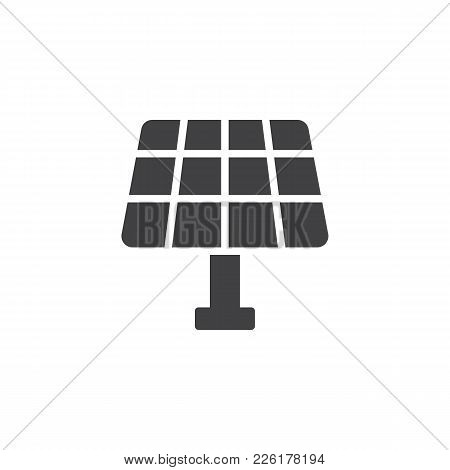 Solar Panel Icon Vector, Filled Flat Sign, Solid Pictogram Isolated On White. Eco, Save Energy Symbo