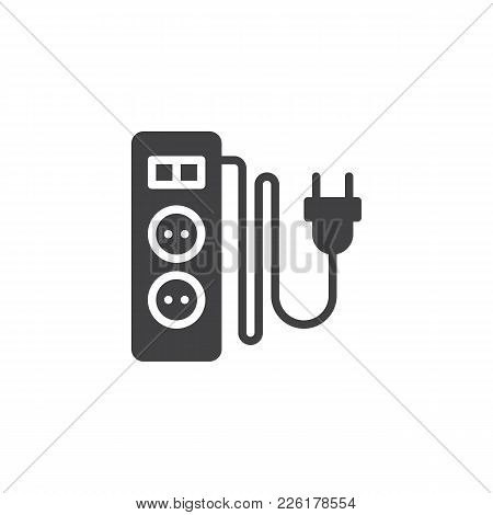 Electric Extension Cord With Two Slots Icon Vector, Filled Flat Sign, Solid Pictogram Isolated On Wh
