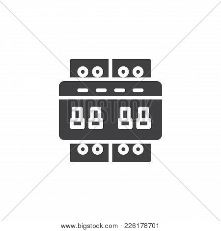 Circuit Breaker Switch Icon Vector, Filled Flat Sign, Solid Pictogram Isolated On White. Electric To