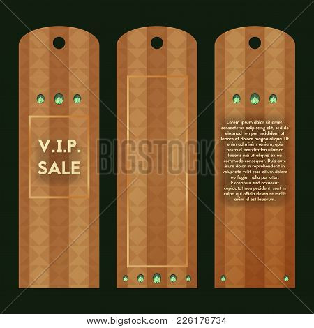 Paper Tag V.i.p. Style. Vector Label With Green Diamond. Collection Of Luxury Templates For Sale.