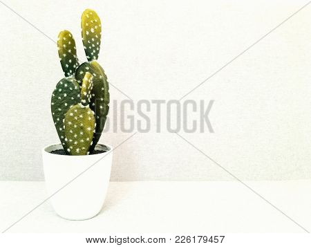 Artificial Cactus In White Ceramic Pot. Faux Plant. Modern Home Decor.