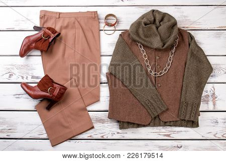 Set Of Female Fashionable Autumn Apparel. Flat Lay Elegant Clothes For Adult Women. Feminine Fashion