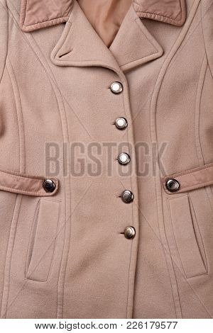 Close Up Women Cashmere Overcoat. Detail Of Feminine Modern Buttoned Topcoat. Feminine Classy Outfit